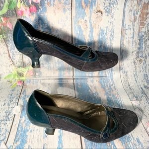 Franco Sarto Women's Blue Suede Mary Jane Shoes 8M